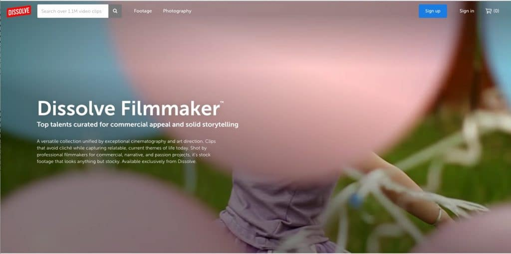 Screenshot from Dissolve Filmmaker Collection